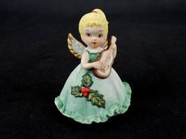 Blonde Angel Figurine Playing Guitar, Green Holly Leaf Dress, Bisque Por... - $14.65