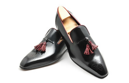 Handmade Men's Black Leather Slip Ons Burgundy Tassel Brogues Loafer Shoes image 3