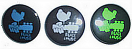 "3 WOODSTOCK  PINS ""THREE DAYS OF PEACE & MUSIC""  approx 1 1/2"" each - $5.49"