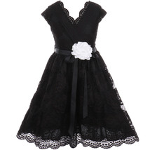 Black Cap Sleeve V Neck Floral Lace with Corsage Flower Belt Girl Dress - $29.99+