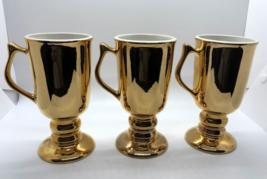 Vintage Hall Holiday Glo Gold Irish Coffee Mugs Set of 3 Made in USA 1272 - $24.98