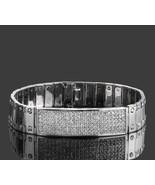 3 Ct ID Men's Diamond Bracelet Screw Link 14k Solid White Gold 60 g 8'' - $6,110.38