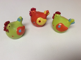 """Set of 3 Roosters Poultry Chickens Heavy Solid Shelf Paper Weight 3"""" Fig... - $9.99"""