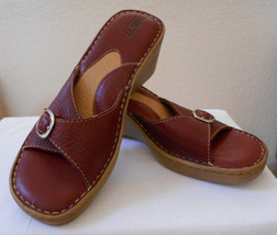 Born Womens Size 10/42 Brick Red Leather Wedge Heel Sandal Mint Condition - $25.00