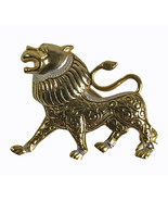 Vintage Gold tone metal Foo Dog Asian mythical creature Pin Brooch Unsig... - $11.59