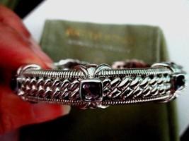 JUDITH RIPKA 925 Sterling Silver Amethyst Hinged Cuff Bracelet AVG JR Po... - $114.95
