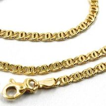 18K YELLOW GOLD CHAIN, 2.5mm, 16 INCHES, FLAT TIGER EYE LINKS, MADE IN ITALY image 4