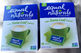 2-Equal Naturals W/Stevia Leaf Extract Packets, 50-Count Boxes Exp. 5-22 - $14.03