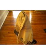 COCA PASHMINA SHAWL CASHMERE SILK SCARF WITH BLACK & BROWN Stripe  - $16.99