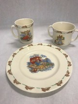 Vintage set 3 royal dolton Bunnykins  mugs plate 2 handle cup childs baby - $55.43