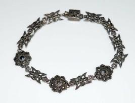 VTG Art Deco Sterling Silver .925 Marcasite Butterfly Flower Bracelet - $148.50