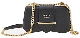 Authentic Prada Saffiano black Leather Sidonie Cross Body Bag/2350$ - $1,775.00