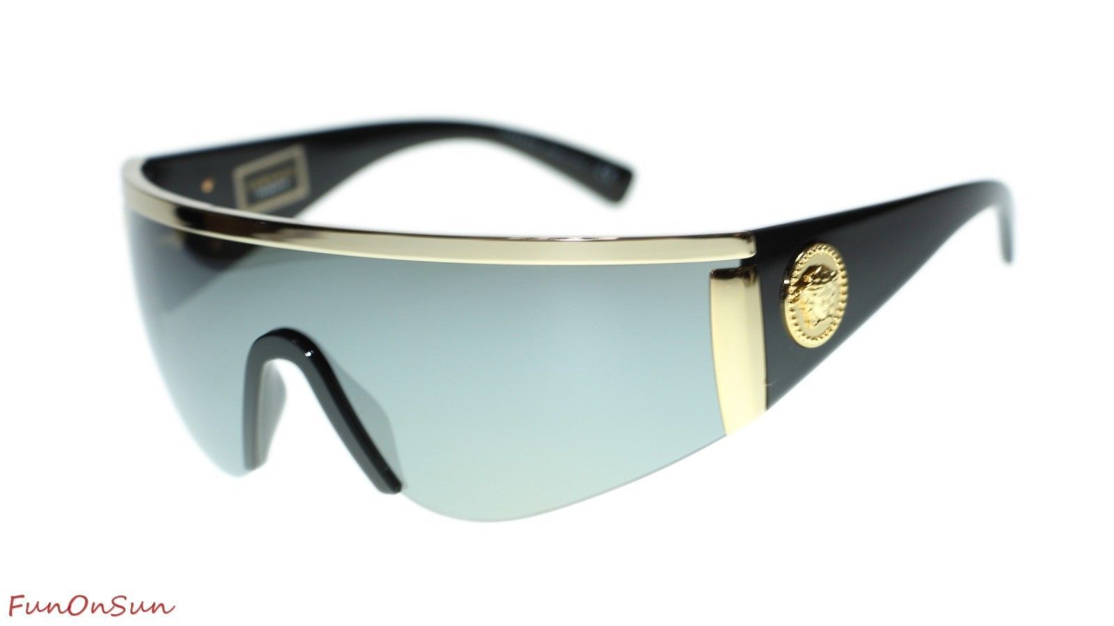 1e080096741f Versace Unisex Sunglasses VE2197 10006G Gold Grey Mirror Silver Lens 40mm -  $198.85