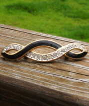 Vintage Trifari Black Enamel and White Crystal Infinity Brooch - $48.00
