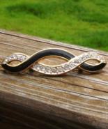 Vintage Trifari Black Enamel and White Crystal Infinity Brooch - $48.00