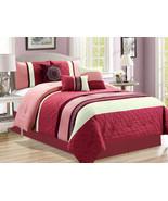 7-Pc Scroll Greek Key Meander Clover Floral Comforter Set Rose Pink Mage... - $81.79