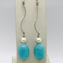 EARRINGS SILVER 925 TRIED AND TESTED WITH WHITE PEARLS AND JADE BLUE OVAL image 1