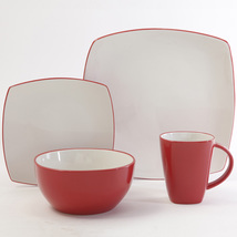Red And  White Classic Square Holiday  16 Piece  Dinnerware Set Service ... - $169.99