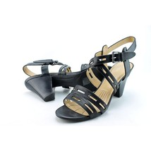 Easy Spirit Ranette Peep-Toe Stacked Heel Sandals - Black Faux Leather - 8M - $36.47