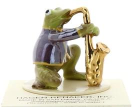 Hagen-Renaker Miniature Ceramic Frog Figurine Toadally Brass Band Saxophone image 1