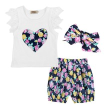 3PCS Toddler Kids Baby Girls Floral Outfits Clothes T shirt Tops+Pants/S... - $10.99