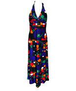 70s Pop Art Abstract Print Blue Orange Red Green Halter Low Cut Open Bac... - $53.00