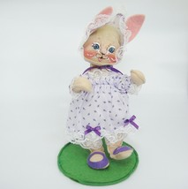 "Annalee Dolls 11"" Girl Easter Bunny Rabbit Purple Dress & Bonnet with Lace 1990 - $23.75"