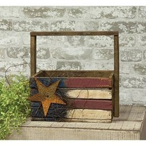Patriotic AMERICAN FLAG CRATE Country Farmhouse Americana Primitive Wood... - $40.99