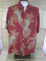 CARIBBEAN Hawaiian ALOHA shirt L pit to pit 25 rayon tropical bird parro... - $16.65