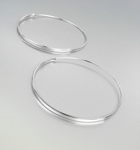 CHIC Urban Anthropologie Thin Silver Plated Round Threader Hoop Earrings - $14.99