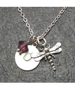 Custom Dragonfly Necklace with Birthstone Crystal from Swarovski Alphabe... - $22.49