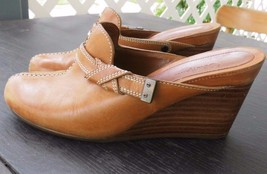 Cole Haan Size 6.5 Tan Brown Leather Wedge Slides Slip-on Clogs  - $29.50