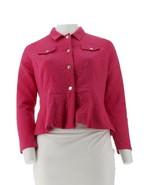 Isaac Mizrahi Floral Knit Jacquard Peplum Jacket Bijou Pink S NEW A289649 - $38.59