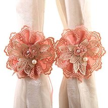 George Jimmy 1Pair Rose Flower Window Curtain Tieback Buckle Clamp Hook Fastener - $20.94