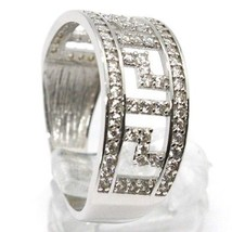 SOLID 18K WHITE GOLD BAND RING WITH ZIRCONIA, BINARY, GREEK, MADE IN ITALY image 2