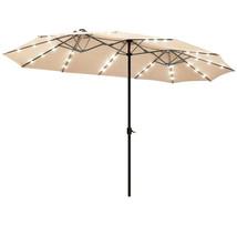 15 Ft Patio LED Crank Solar Powered 36 Lights  Umbrella-Beige - $265.99
