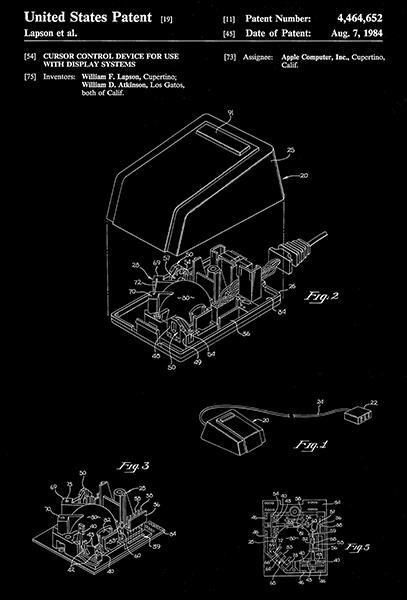 Primary image for 1984 - Apple Mouse - Cursor Control - W. Lapson - Patent Art Poster