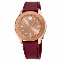 BRAND NEW MOVADO BOLD 3600429 RED BURGUNDY STRAP ROSE GOLD FACE WOMEN'S ... - $222.74