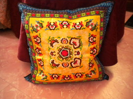 Embroidered Cotton Decorative Cushion Cover Case: yellow backsplash - $21.99