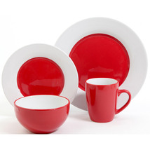 Holiday Red  And White Circle 16 Piece Dinnerware Set Service For 4  - $129.99