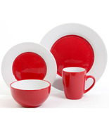 Holiday Red  And White Circle 16 Piece Dinnerware Set Service For 4  - $79.99