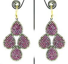 16.10 Rose Cut Diamond Ruby Antique Victorian Silver Mother's Day Gift Earrings - $536.82