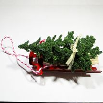 Toy Red Flyer Sled w Christmas Tree Dollhouse Miniatures by Beth - $7.94