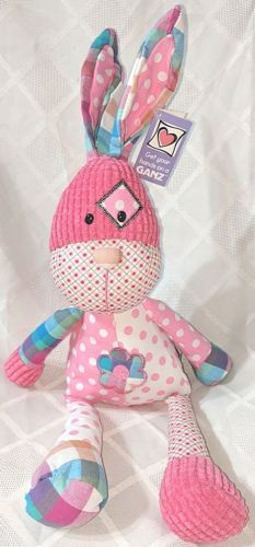 Ganz HE9980 Pink 19 Inch Quiltees Bunny Ages 3 Plus Multi Patterns