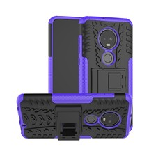Tire Texture TPU+PC Shockproof Case for Motorola G7, with Holder (Purple) - $4.77