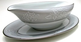 Noritake Gravy Boat with Attached Under Plate - Sabrina Grey Silver Gray - $14.84