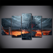 5 Pcs Lava Castle Wall Picture Home Decor Printed Canvas Painting - $45.99+