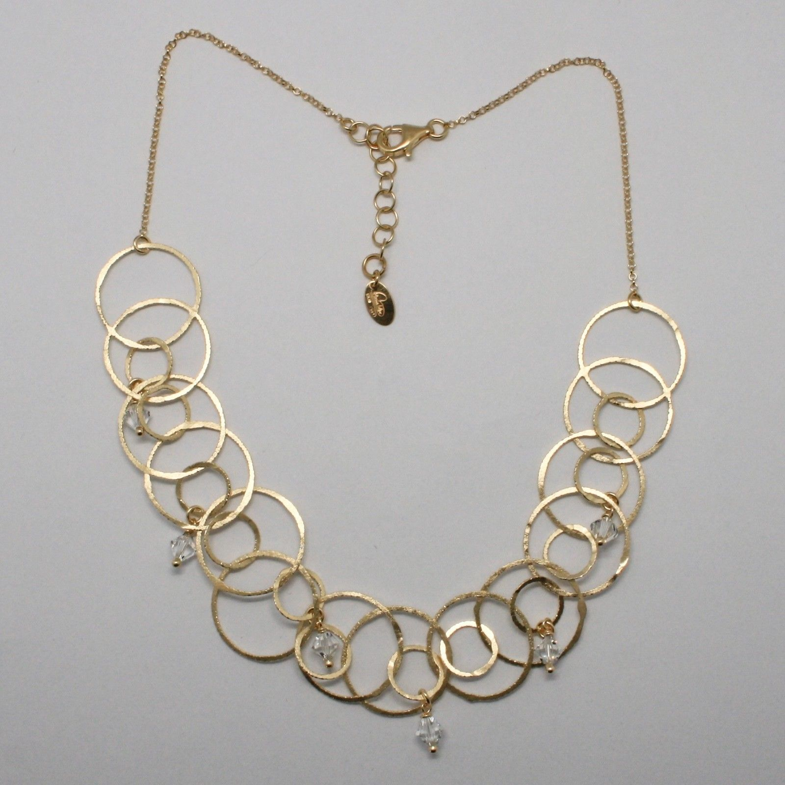 CHOKER NECKLACE 925 SILVER LAMINA GOLD CIRCLES BY MARY JANE IELPO MADE IN ITALY
