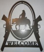 Cowboy and Guns Welcome Sign Metal Wall Art - $34.50+