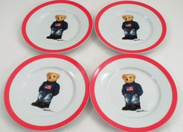 4 Pc 2013 Ralph Lauren USA American Flag Sweater Bear Porcelain Dessert ... - $106.87